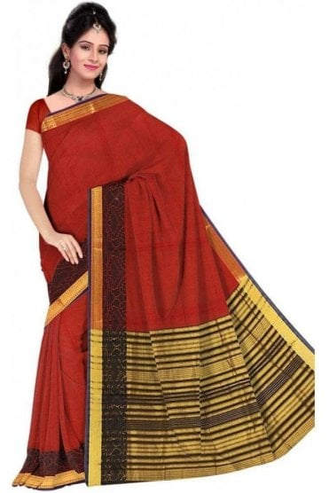 Contemporary Black and  Red Cotton Silk Saree with Matching Unstitched Blouse