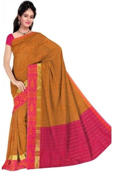 PCS19328  Yellow and Pink Poly Cotton Saree- With Unstitched Blouse Piece