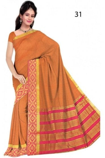 PCS19329  Mustard and Pink Poly Cotton Saree- With Unstitched Blouse Piece