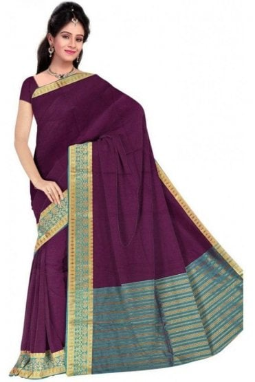 PCS19333  Purple and Blue Poly Cotton Saree- With Unstitched Blouse Piece