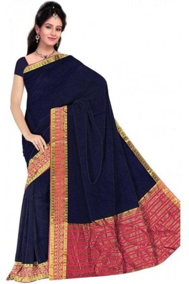 PCS19335  Blue and Pink Poly Cotton Saree- With Unstitched Blouse Piece