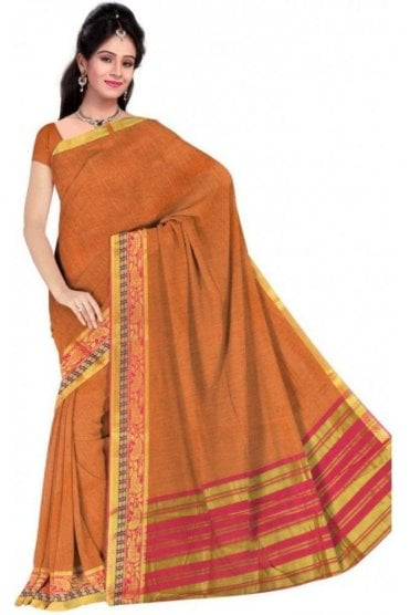 PCS19337  Mustard and Pink Poly Cotton Saree- With Unstitched Blouse Piece