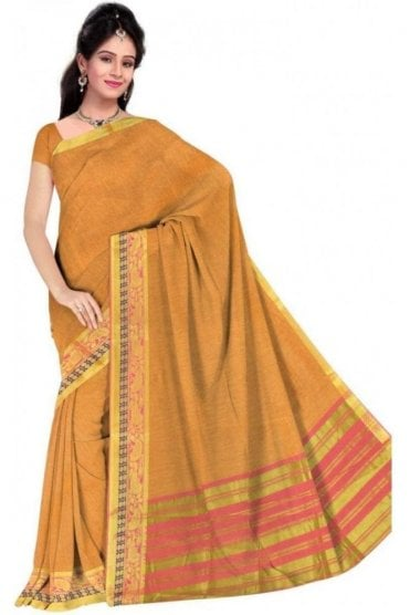 PCS19338  Yellow and Pink Poly Cotton Saree- With Unstitched Blouse Piece