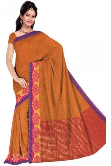 PCS19340  Mustard and Pink Poly Cotton Saree- With Unstitched Blouse Piece