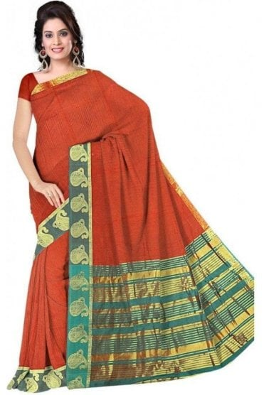 PCS19343  Orange and Green Poly Cotton Saree- With Unstitched Blouse Piece