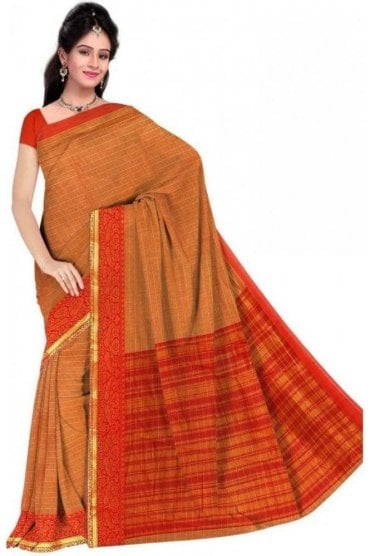 PCS19345  Mustard and Orange Poly Cotton Saree- With Unstitched Blouse Piece