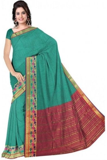 PCS19350  Green and Pink Poly Cotton Saree- With Unstitched Blouse Piece