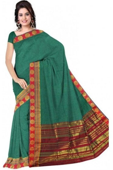 PCS19351  Green and Red Poly Cotton Saree- With Unstitched Blouse Piece