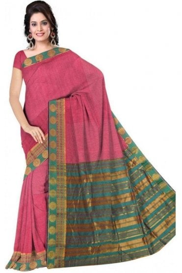 PCS19353  Pink and Green Poly Cotton Saree- With Unstitched Blouse Piece