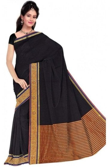 PCS19355  Black and Red Poly Cotton Saree- With Unstitched Blouse Piece