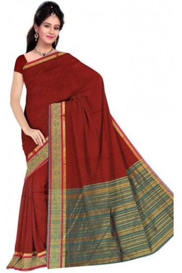 Gorgeous Maroon and  Jade Green Cotton Silk Saree with Matching Unstitched Blouse