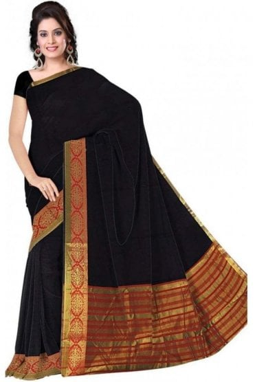 PCS19358  Navy Blue and Red Poly Cotton Saree- With Unstitched Blouse Piece