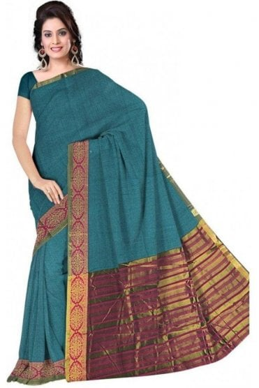 PCS19359  Blue and Pink Poly Cotton Saree- With Unstitched Blouse Piece