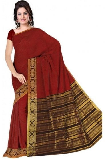 PCS19361  Red and Black Poly Cotton Saree- With Unstitched Blouse Piece