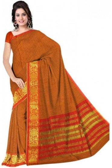 PCS19362  Mustard and Red Poly Cotton Saree- With Unstitched Blouse Piece
