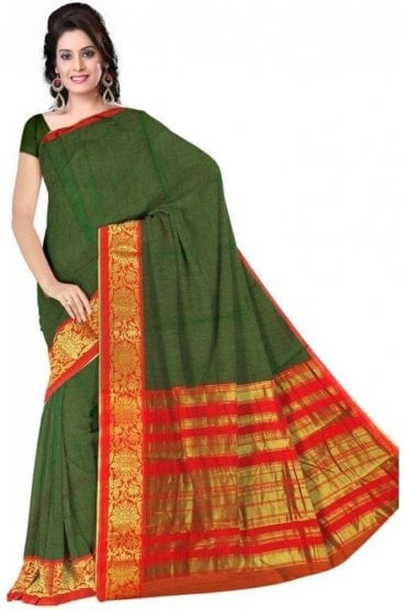 PCS19363  Green and Red Poly Cotton Saree- With Unstitched Blouse Piece