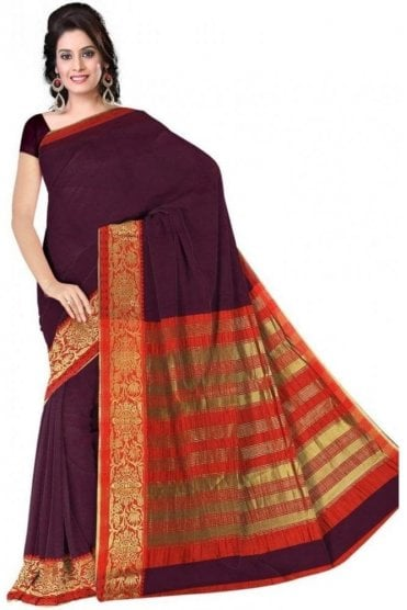 PCS19364  Purple and Red Poly Cotton Saree- With Unstitched Blouse Piece