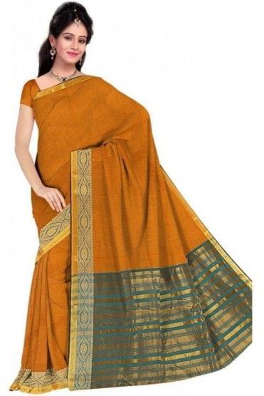 PCS19365  Yellow and Blue Poly Cotton Saree- With Unstitched Blouse Piece