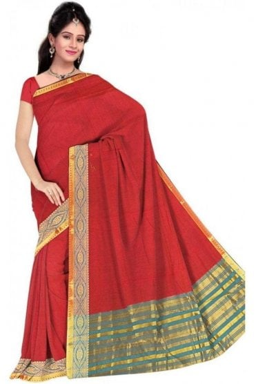 PCS19366  Red and Blue Poly Cotton Saree- With Unstitched Blouse Piece