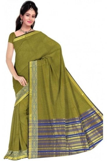 PCS19368  Green and Blue Poly Cotton Saree- With Unstitched Blouse Piece