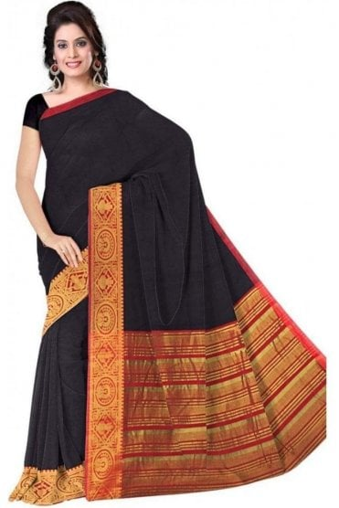 PCS19369  Navy Blue and Red Poly Cotton Saree- With Unstitched Blouse Piece