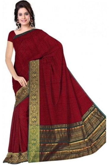 PCS19370  Maroon and Jade Green Poly Cotton Saree- With Unstitched Blouse Piece