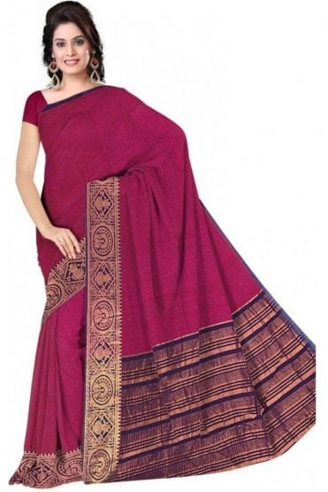 PCS19371  Pink and Purple Poly Cotton Saree- With Unstitched Blouse Piece