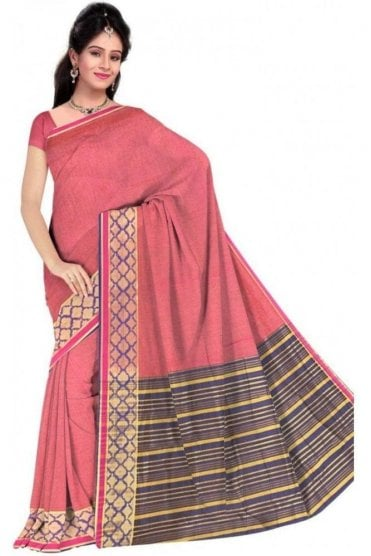 PCS19373  Pink and Purple Poly Cotton Saree- With Unstitched Blouse Piece