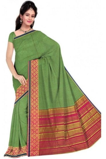 PCS19374  Green and Pink Poly Cotton Saree- With Unstitched Blouse Piece