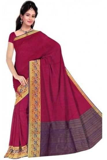 PCS19377  Pink and Purple Poly Cotton Saree- With Unstitched Blouse Piece