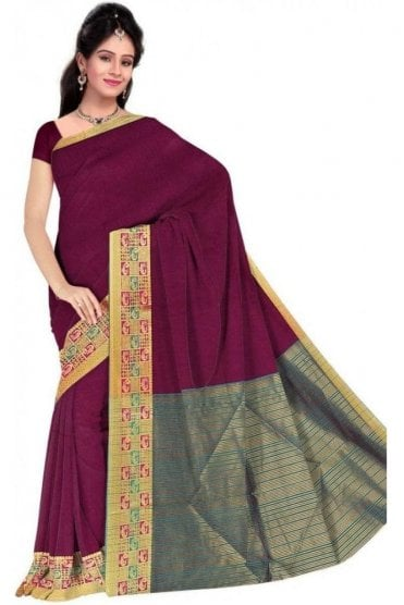 PCS19378  Purple and Jade Green Poly Cotton Saree- With Unstitched Blouse Piece