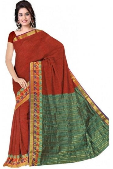 PCS19381  Rust Orange and Jade Green Poly Cotton Saree- With Unstitched Blouse Piece