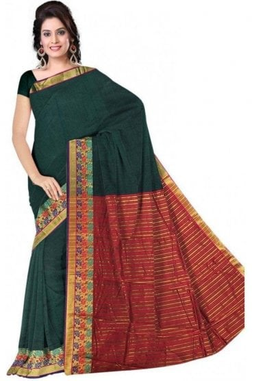 PCS19382  Green and Pink Poly Cotton Saree- With Unstitched Blouse Piece