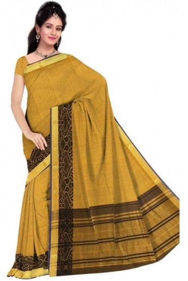 PCS19322  Yellow and Black Poly Cotton Saree- With Unstitched Blouse Piece