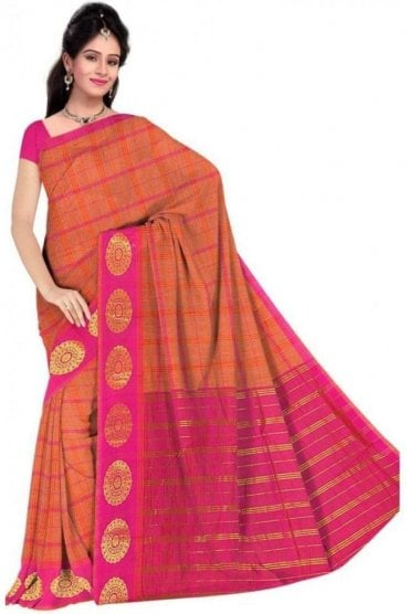 PCS19320  Orange and Pink Poly Cotton Saree- With Unstitched Blouse Piece