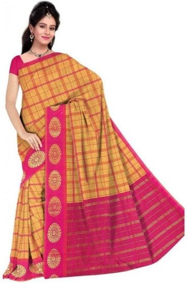 PCS19319  Mustard and Pink Poly Cotton Saree- With Unstitched Blouse Piece
