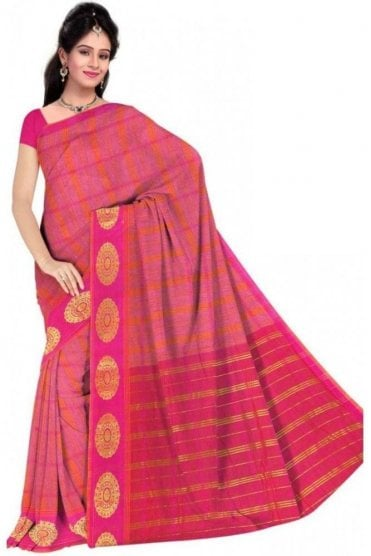 PCS19318  Pink and Orange Poly Cotton Saree- With Unstitched Blouse Piece