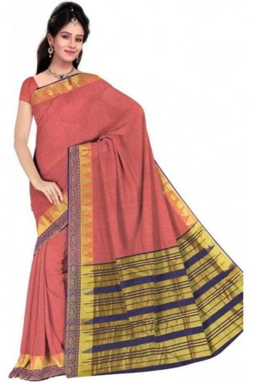 PCS19315  Pink and Purple Poly Cotton Saree- With Unstitched Blouse Piece