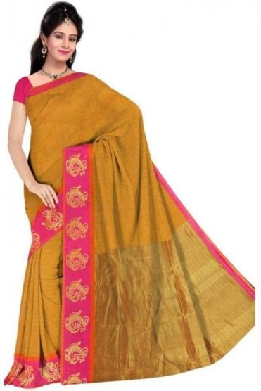 PCS19312  Mustard and Pink Poly Cotton Saree- With Unstitched Blouse Piece