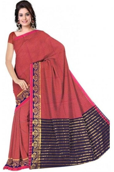 PCS19306  Pink and Blue Poly Cotton Saree- With Unstitched Blouse Piece