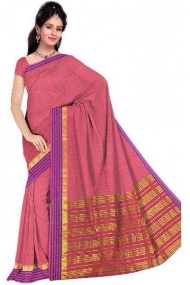 PCS19303  Pink and Purple Poly Cotton Saree- With Unstitched Blouse Piece