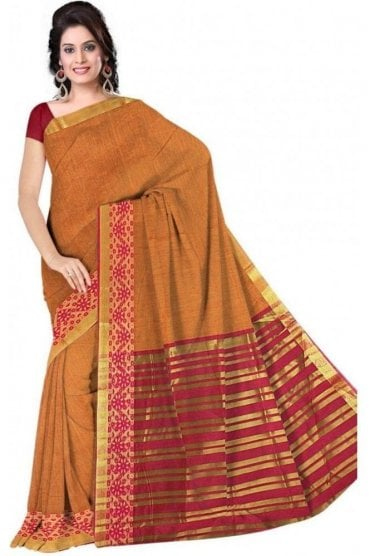 PCS19302  Mustard and Pink Poly Cotton Saree- With Unstitched Blouse Piece