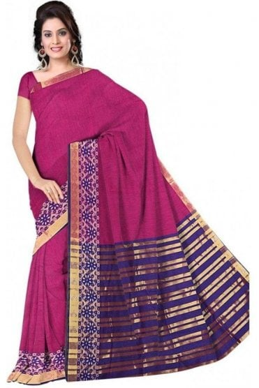 PCS19300  Pink and Purple Poly Cotton Saree- With Unstitched Blouse Piece