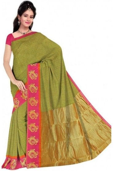 PCS19310  Green and Pink Poly Cotton Saree- With Unstitched Blouse Piece