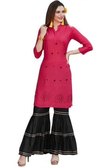 WPS19007 Pink and Black Gorgeous  Designer Palazzo Suit