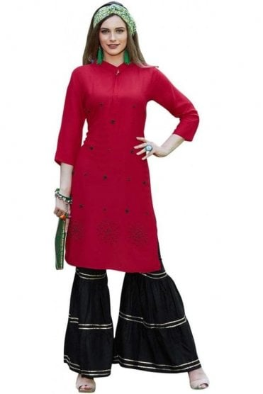WPS19010 Red and Black Stylish Designer Palazzo Suit