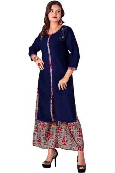 WPS19014 Nevy Blue and Red Elegant  Designer Palazzo Suit