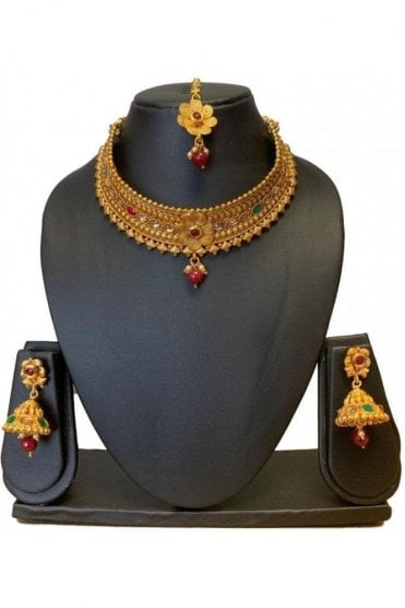 NLS19003 Red, Green and Antique Gold Mena Necklace Set with Tikka