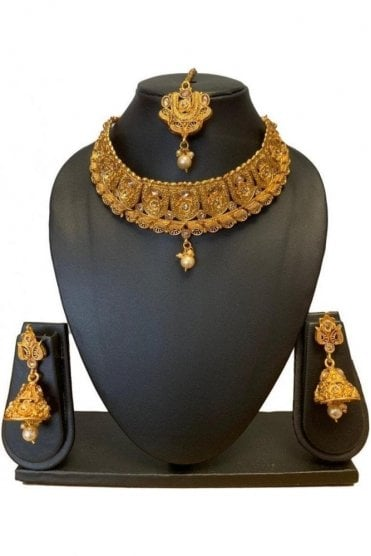 NLS19004 Antique Gold and Pearl Necklace Set with Tikka