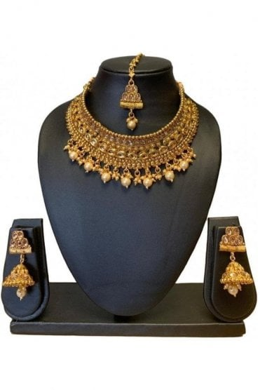 NLS19001 Antique Gold and Pearl Necklace Set with Tikka